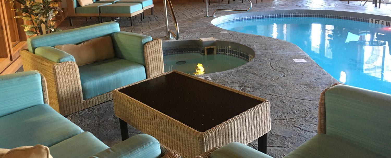 seated area near pool