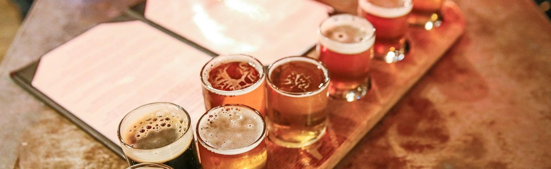Craft Beer Tasting Flight, Bar Counter, Indoors