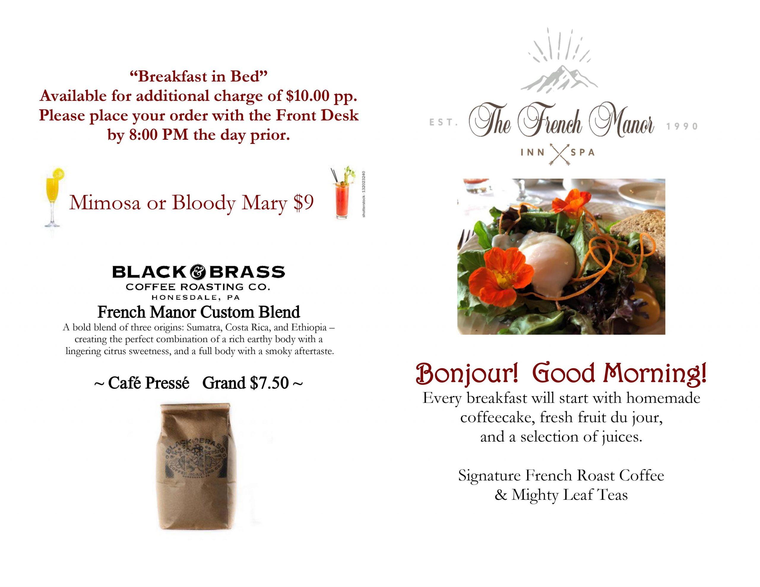 Summer 2020 Breakfast Menu page 1
